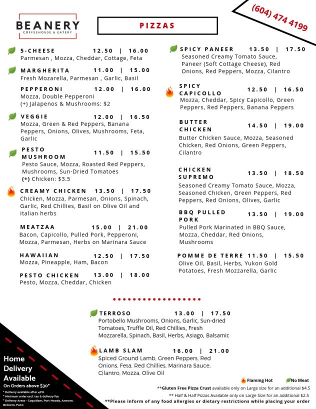 Beanery Coquitlam Pizza Delivery Menu