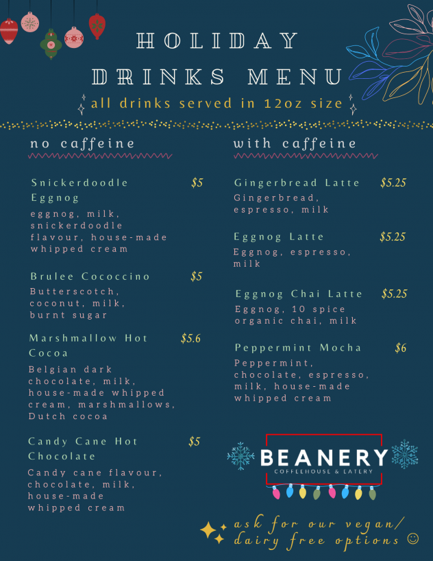 Winter Special Drinks menu_Beaneery Coquitlam