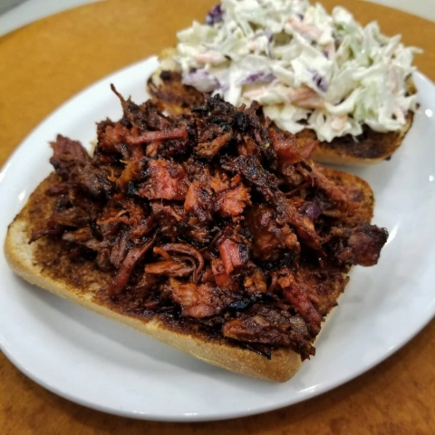 BBQ Pulled Pork Sandwich at Beanery Coffeehouse served with Coleslaw