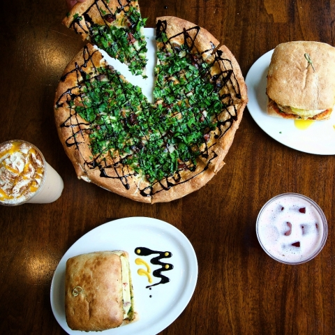 Thin-crust pizzas and goumet sandwiches at Beanery Coffeehouse